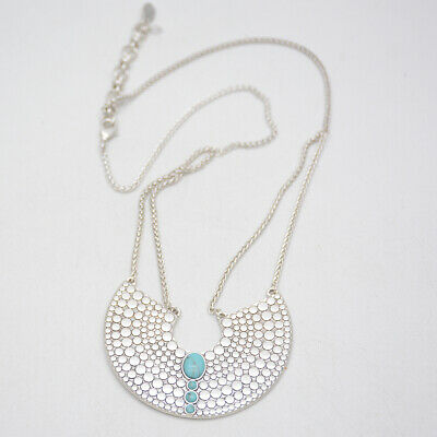 f44efdb3e67ae lucky brand jewelry silver plated turquoise stone large pendant necklace  chain | eBay