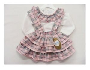 ca5fd38ef Baby & Girls Spanish Style Frilly Pink Tartan Skirt & White Top 3-6m ...