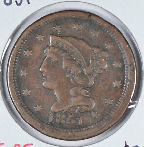 1851-Braided-Hair-Cent-Very-Fine