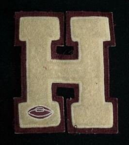 """VINTAGE 1960'S-1970'S SCHOOL FOOTBALL MAROON AND WHITE PATCH 5"""" X 6"""""""