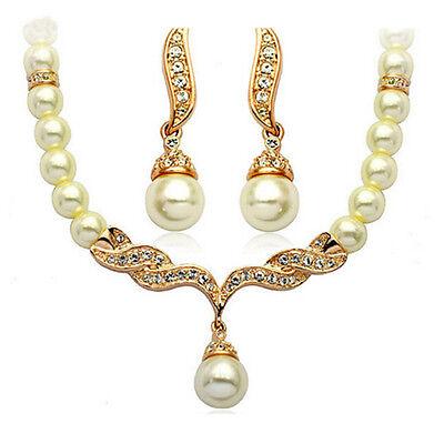Women Bridal Wedding Crystal Pearl Necklace Rhinestone Earrings Jewelry Set IM