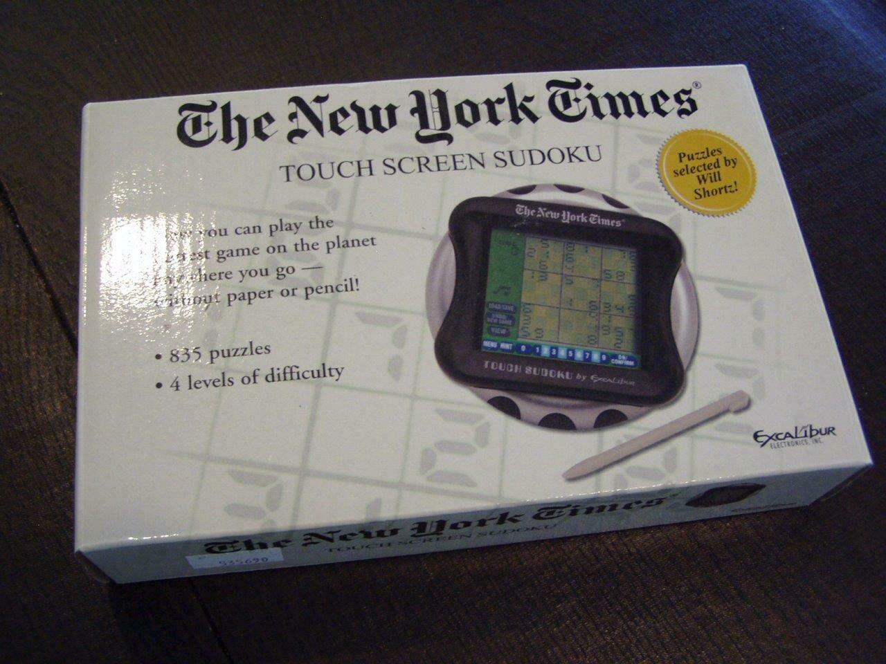 The New York Times Touch Screen Sudoku Handheld Game New Original Box & Stylus