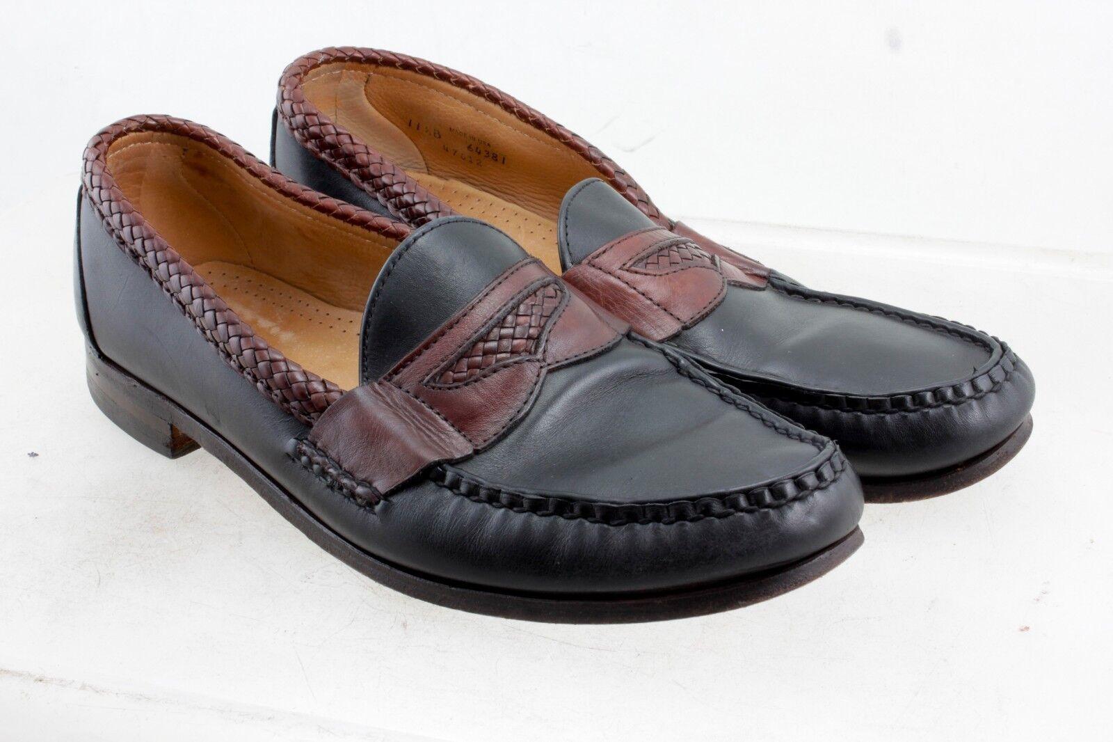 Allen Edmonds Newcastle Men's Black W Brown Leather Slip On Loafers Size 11.5 B