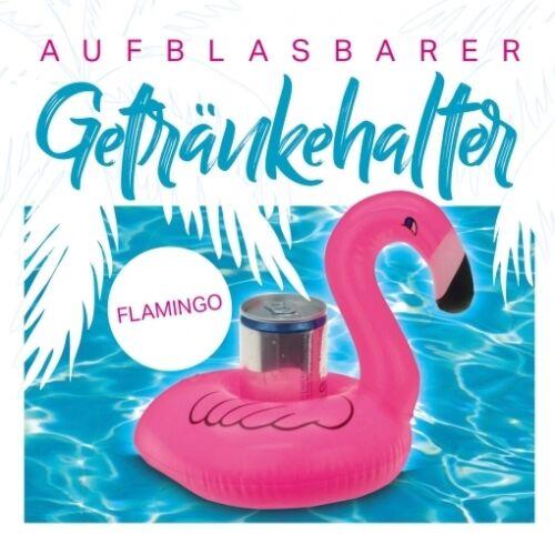 """4 Stück Aufblasbarer Getränkehalter Dosenhalter Getränke-Halter /""""Flamingo/"""" 17 cm"""