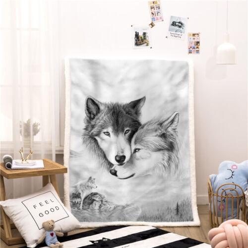 Sherpa Fleece Blanket Unicorn Wolf Elk Animal Print Throw Fit Bed Sofa Couch