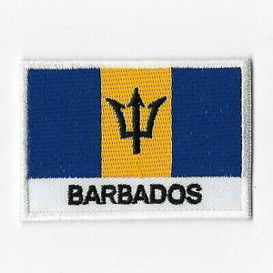 BARBADOS  COUNTRY FLAG IRON-ON PATCH CREST BADGE 1.5 X 2.5 INCH