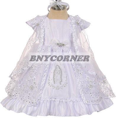 New Baby Girls Baptism Christening Bautizo Flower Girl White Dress with Train