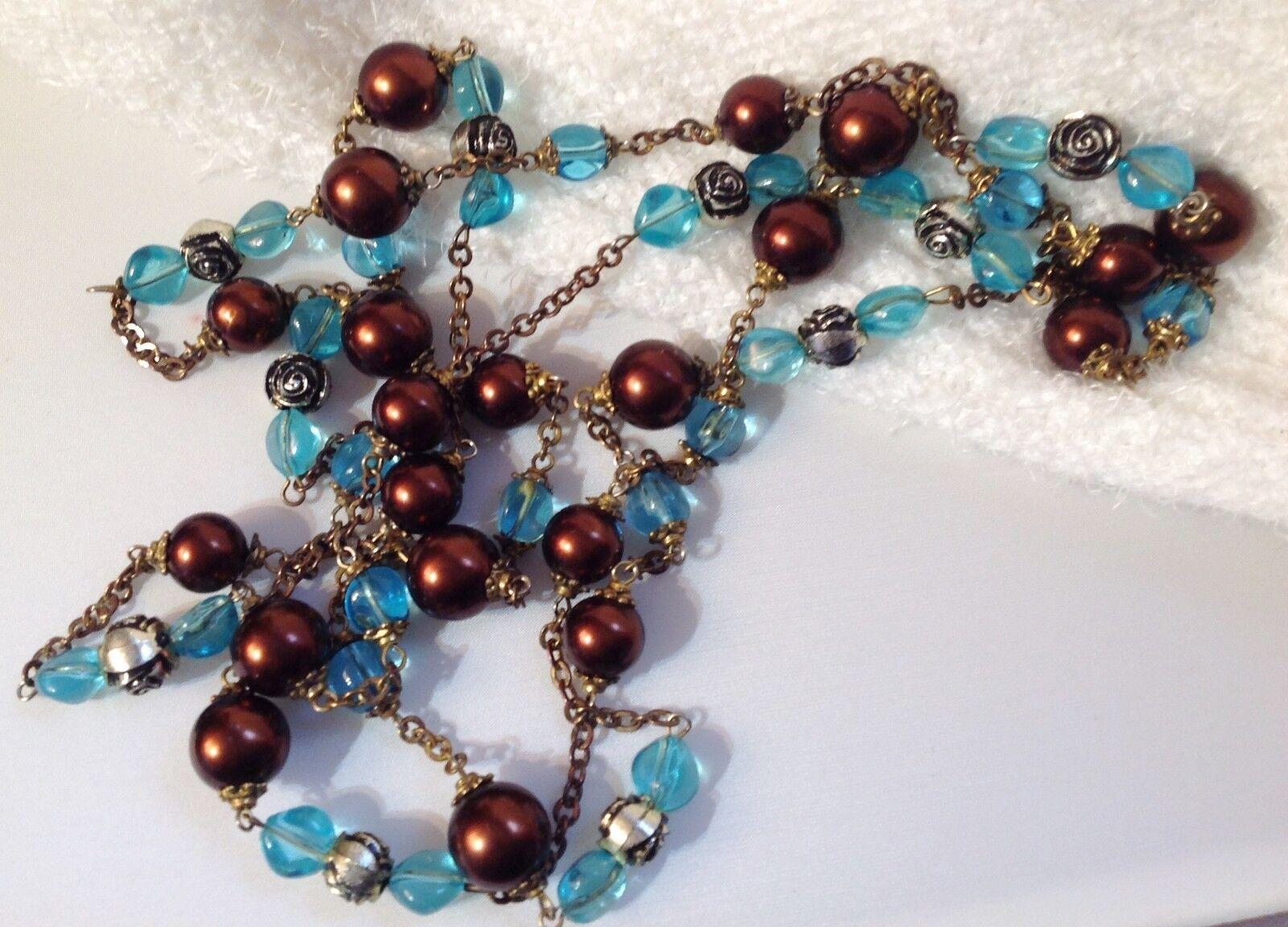 Sautoir vintage 160cm perle de verre blue et brown nacrée color or patiné 671