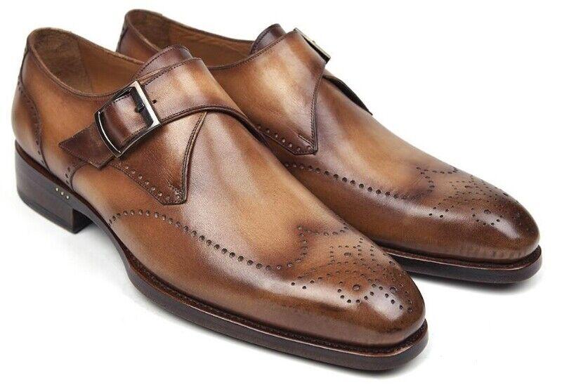 Paul Parkman Men's Classic Wingtip Single Monkstrap shoes Brown Camel
