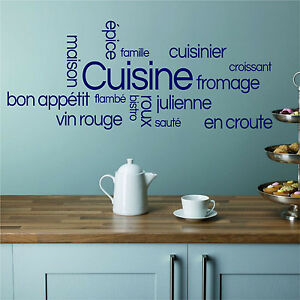 Kitchen Cooking French Words Dining Food Wall Quote Vinyl Art - Dining room vinyl wall quotes
