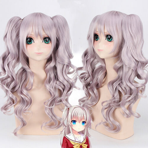 Charlotte Tomori Nao Lolita Hair Double Tiger Clip Wig Long Curly Purple Cosplay