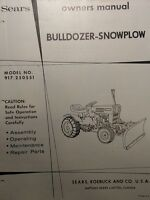 Sears Custom Xl Compact Garden Tractor Dirt Snow Plow Blade Owner & Parts Manual