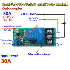 DC-12V-Delay-Timer-Relay-Switch-Counter-Control-30A-High-Power-on-off-Module