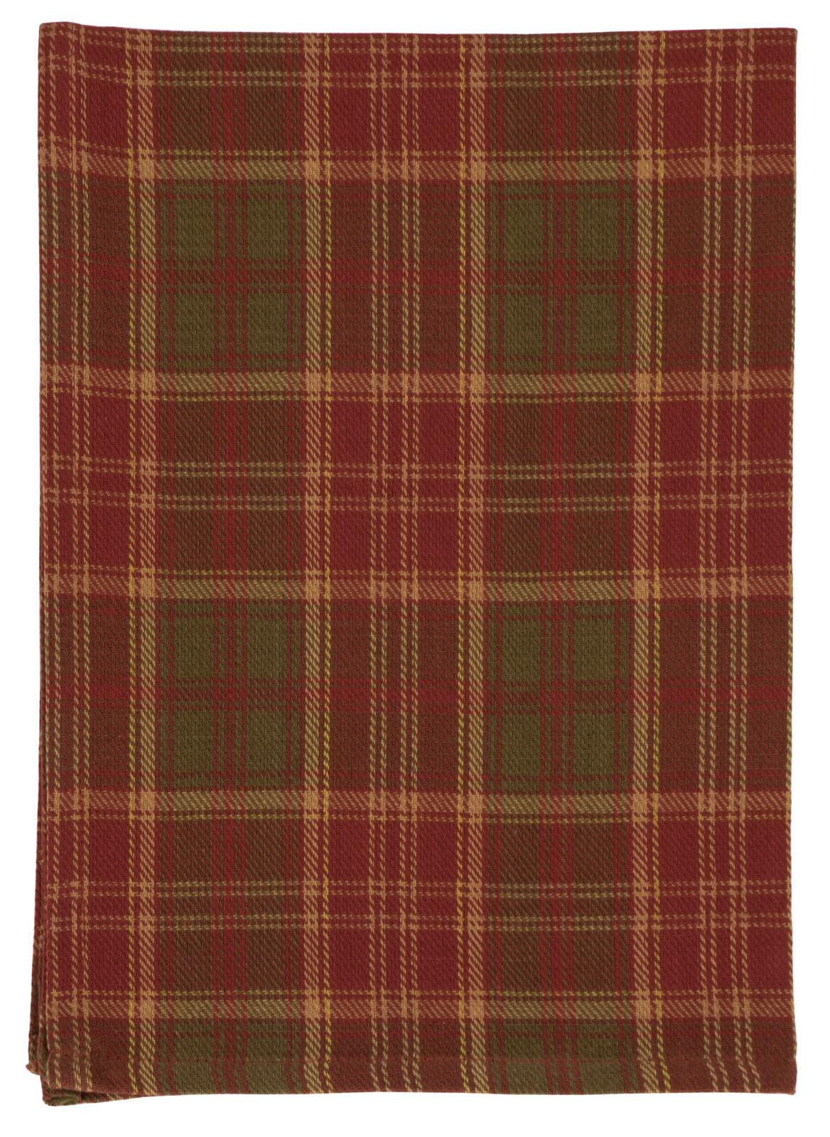 100% Cotton rot & Grün Plaid 20 x28  Dish Towel, Set of 6 - Pineberry