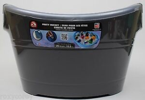 Igloo 20 Qt Dark Gray Silver Party Bucket Cooler Great