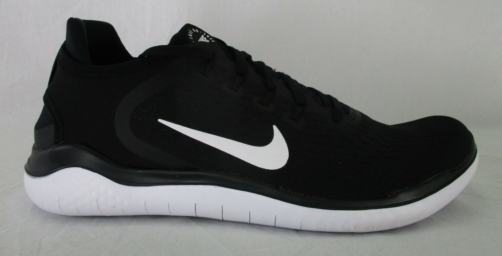 Nike Mens Shoes Free RN 2018 Running Shoes Mens 942836 001 Black/White Size 12 9d5676