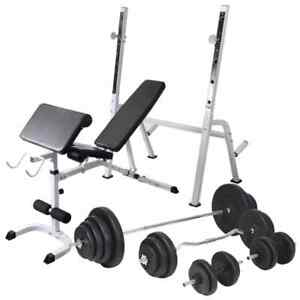 Details About Vidaxl Workout Bench With Weight Rack Barbell And Dumbbell Set 120kg Fitness