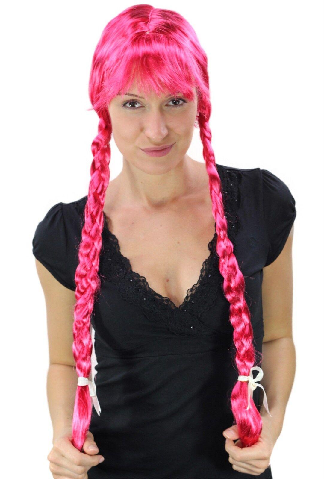 Wig Ladies Pink Rose Long Braided Pigtails Fringe Alm Heidi Oktoberfest Uniform
