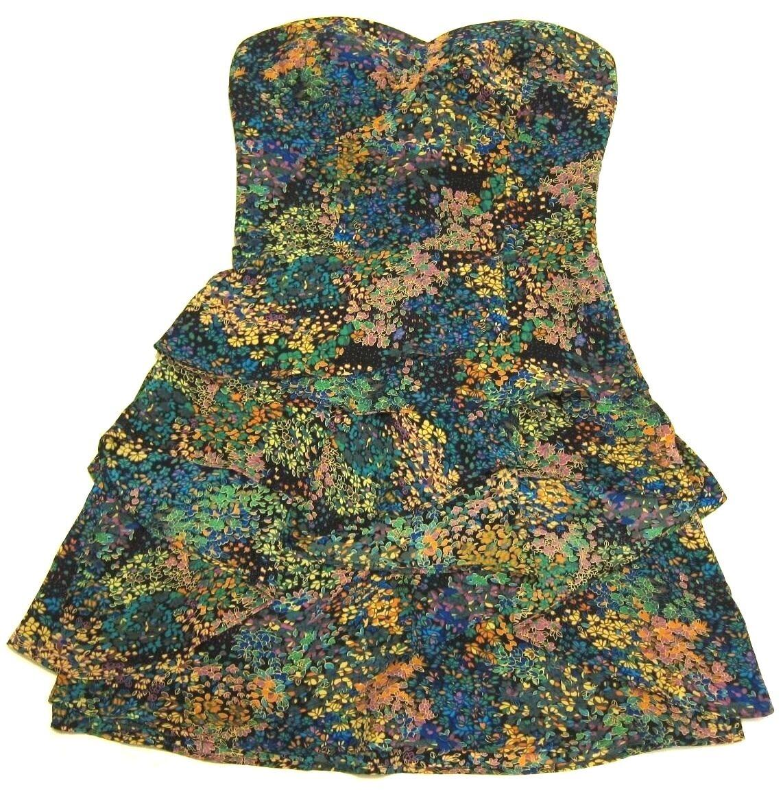 Twelfth St. by Cynthia Vincent Silk Tierot Floral Tube Mini Dress sz 4