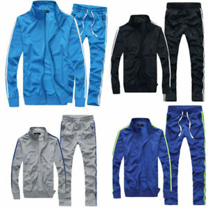 Men-Tracksuit-Pant-Set-Jogging-Top-Bottom-Sport-Sweat-Suit-Coat-Trousers-Leisure