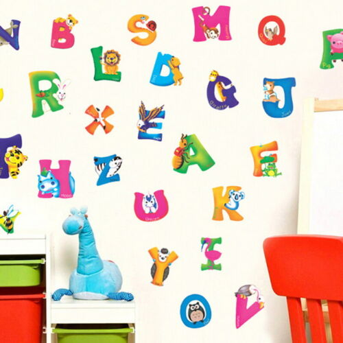 Wall Art Stickers Self-Adhesive Alphabet Animals Baby Kids Bedroom Wall Decor A