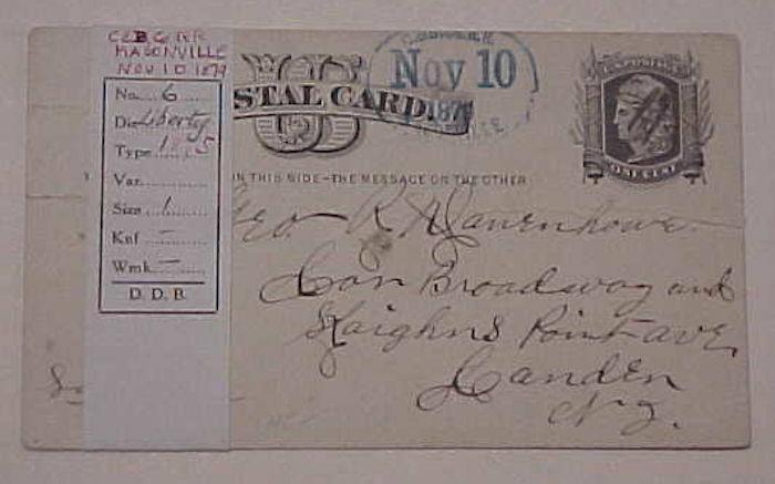 US C&B Co RR MASONVILLE 1879