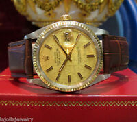 MENS ROLEX OYSTER PERPETUAL DATEJUST WATCH STAINLESS STEEL YELLOW GOLD