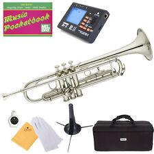 Mendini Bb Trumpet Silver Nickel Plated Student Band +Tuner+Case+CareKit ~MTT-N