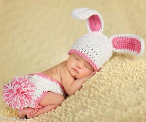 Newborn Baby Girls Crochet Knit Rabbit Hat Pants Photography Photo Prop Outfits