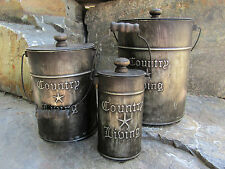 Rustic Canister Sets >> Country Kitchen Canisters Sets Rustic Home Decor Galvanized Steel
