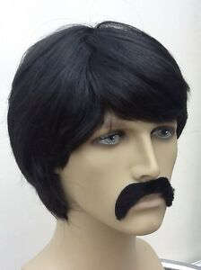 """SHORT CUT BLACK FANCY DRESS WIG /"""" THE MEXICAN/"""" /& SELF ADHESIVE DROOP MOUSTACHE"""
