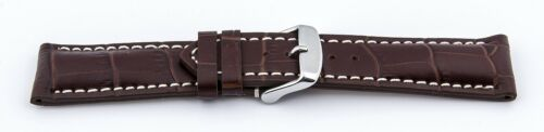 XS BANDS Crocodile Look Pin Buckle Leather, Imprint Dark Brown 22mm