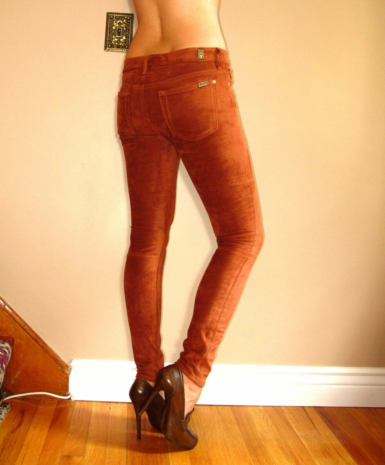 Seven 7 For All Mankind  Sueded Skinny Jeans Leggings Terra Rust 26 FITS XS