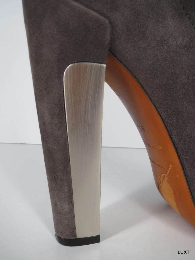Brian Atwood Booties Boots Heels Heels Heels  995 Size 6.5 Suede Brown Ankle Zip Platform 0b4111