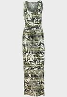 NEW Ladies Primark Atmosphere Palm Leaf Print Maxi Dress Green Black Size 6