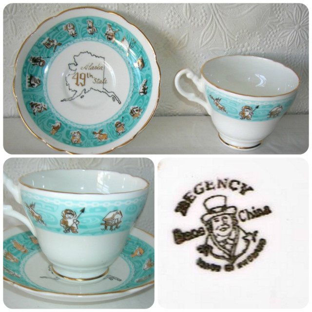 Alaska Tea Cup Saucer  Bone China Eskimo Moose Bear Made in England