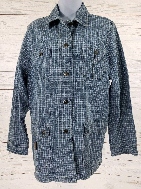 Lauren Jeans Company Jacket Sz Large Women Blue Plaid Denim Button Front Coat