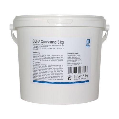 5kg BEHA Quarzsand zum Abstreuen von Gießharz Sand Filtersand für Filteranlagen