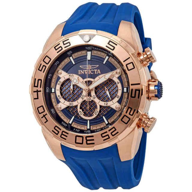55933c353 Invicta Men's 26305 Speedway Quartz Multifunction Rose Gold Blue Dial Watch