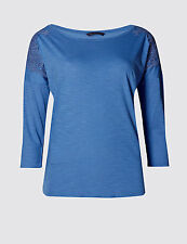 Marks and Spencer Lace Overlay Scoop Neck 3/4 Sleeve T-Shirt  Size 10