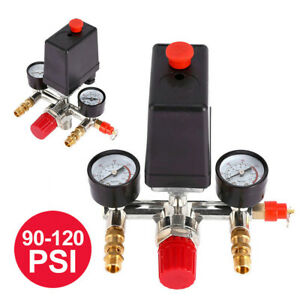 90-120PSI-Air-Compressor-Pressure-Switch-Control-Valve-Manifold-Regulator-Gauges