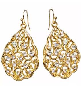 14k Yellow Gold Earrings Pear Crystal