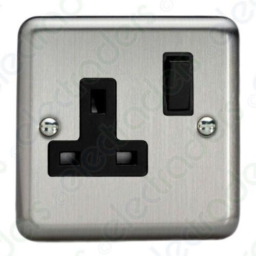 Varilight XS4B 1 Gang Switched Socket DP 13 Amp Matt Chrome Black Inserts