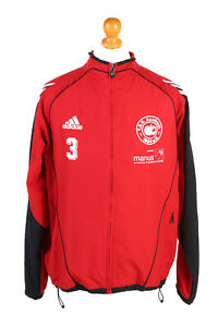 Adidas-para-hombre-Chandal-Top-TSV-ausbach-Vintage-Full-Zip-Forrado-40-42-Rojo-SW2556