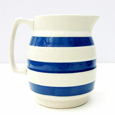 Vintage Retro Chef Ware Cordon Bleu Blue White Stripe Jug