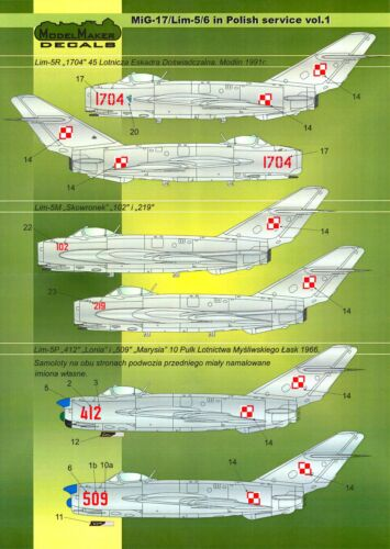 Model Maker Decals 1//72 MIKOYAN MiG-17 /& Lim-5//6 Fighters in POLISH SERVICE