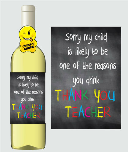 Drôle De Vin étiquette Cadeau Thank You Teacher Teaching Assistant-WL22