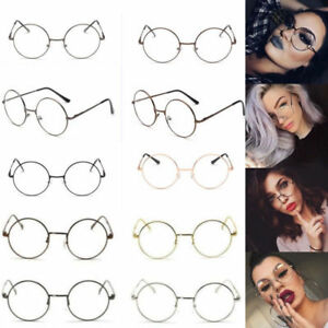 XL-LARGE-Glasses-Round-Retro-Clear-Lenses-Gold-Frame-sunglasses-Spectacles