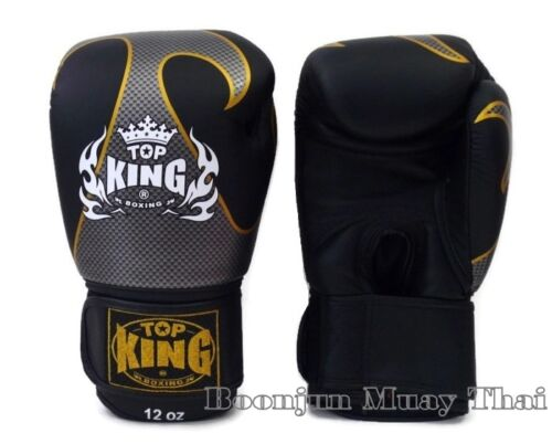 NWT TOP KING Boxing gloves black TKBGEM Empower Creativity Muay Thai MMA Gloves