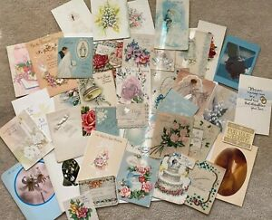 Vintage-Wedding-Card-Lot-1940-s-And-Up-40-Cards-Ephemera
